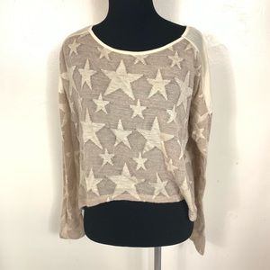 DOUBLE ZERO BEIGE SHEER STAR PRINT TOP SIZE SMALL